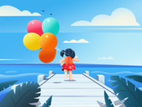 Balloon girl by the sea