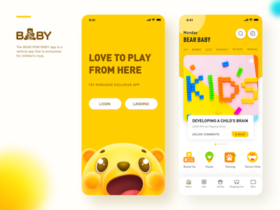 Bear Baby sketch landing page toy child ip child application design ux app ui illustration