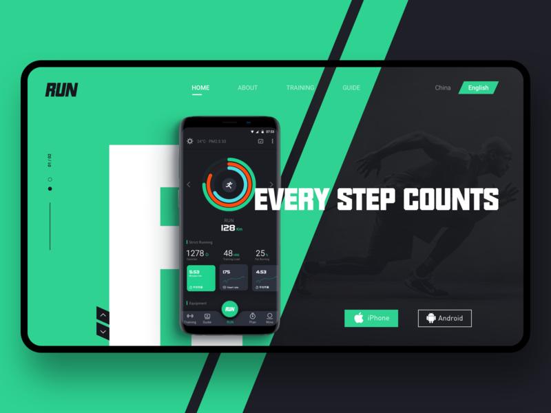 Run App Web fitness cool web sports app run design ux app ui