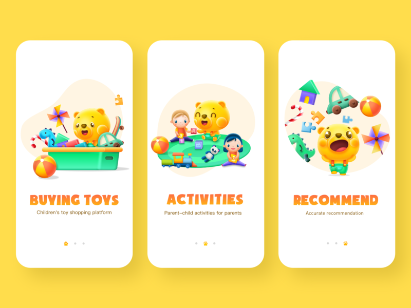 Guide Pages child application design ip guide pages child toy ux app ui illustration
