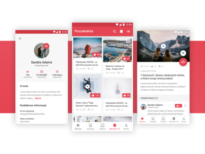 Joe Monster - Android Redesign white red user interface ux design sketch mobile app material design android