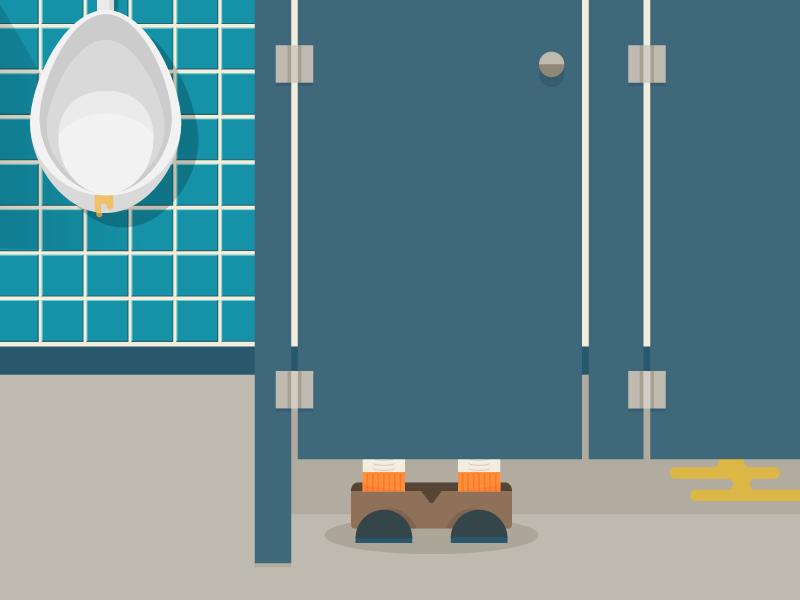 Pewp bathroom urinal poop flat illustration
