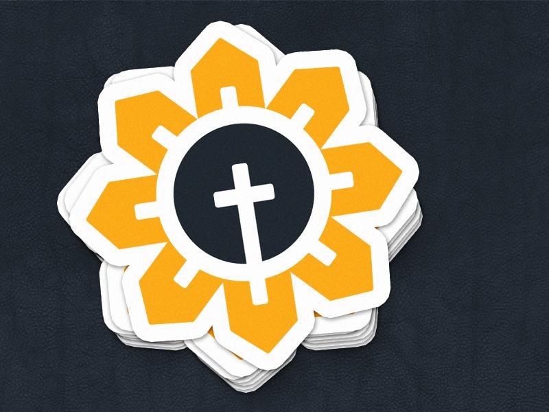 Community Sunflower community kansas logo sticker house cross church sunflower