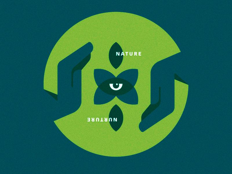 Nature v Nurture grow hand eye leaf nature