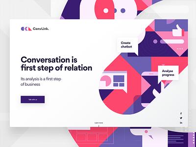 ConvLink Landing Page typography bold geometric illustration landing ai chatbot