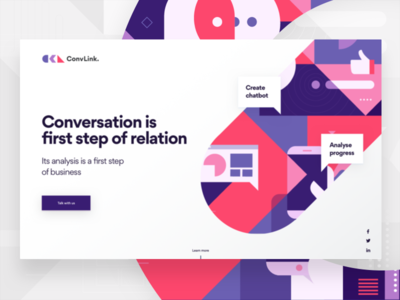 ConvLink Landing Page typography bold geometric illustration landing ai chatbot