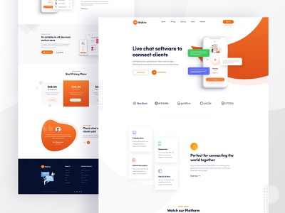 Makro - Chat App Landing Page startup website rock ridoy web design illustration web page creative user interface web minimal ui landing page ux clean