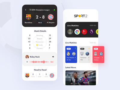 Sports Live Score App android ios sports design soccer football barcelona stream live score sports minimal design ux