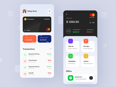 Credit Card App app mobile balance credit card payment amex visa mastercard credit cards finance wallet credit card creditcard clean creative design ridoy rock user interface ux