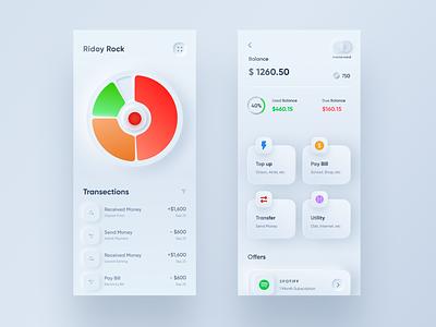 Neumorphic Banking Mobile App Concept neumorphic design modern style ios app minimal user interface clean ui ux neumorphic neumorphism ui neumorphism