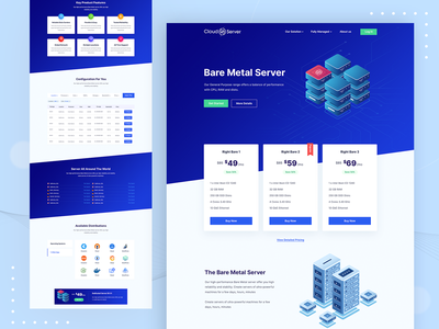 CloudServer - Server and Web Hosting solutions Website cloud computing bare metal cloud storage hosting server cloud website ridoy rock web landing page web design web user interface clean landing page ui ux