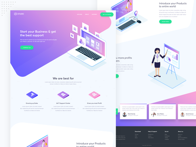 Start up Business Consultation Landing page web page web user interface ui user experience modern landing page isometric homepage creative clean
