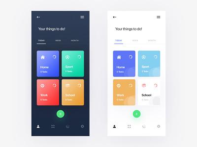Daily Task Dark & Light App UI vector minimal application ridoy rock clean android ios mobile app user interface design ux ui