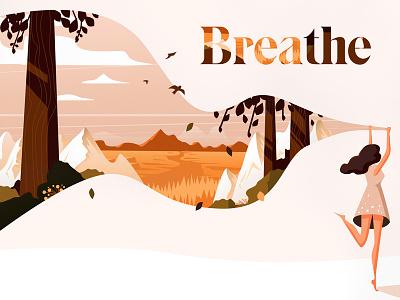 Breathe. agency illustration sketch leaves forest woods mountains dress meditation meditate breathe breath nature women landscape vector illustrator illustration