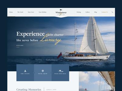 Windweaver Homepage Design charter yacht club yachts sailor sailboat sea ocean holiday sailing ui design homepage design boat yacht website design
