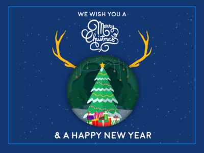 Graphic Hex Saying Merry Christmas and happy new year