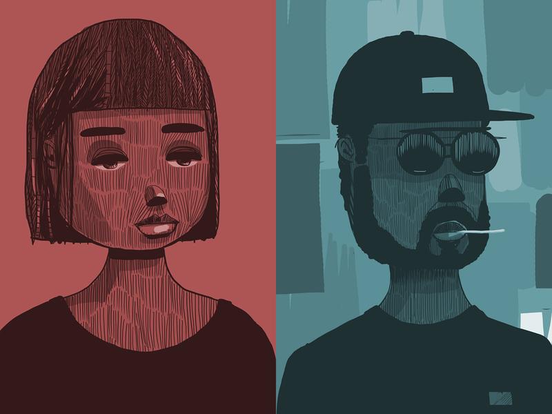 Portraits drawings illustration