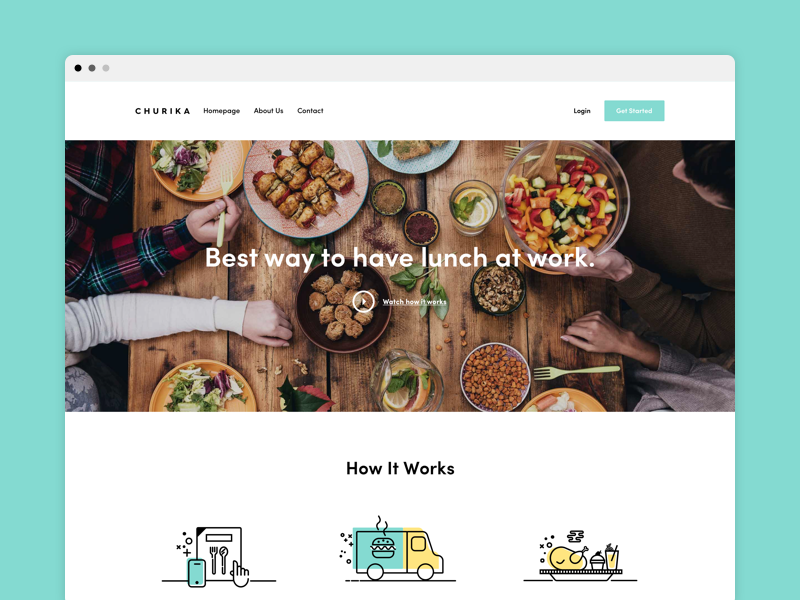 Churika - Landing application web app london new york saas startup on demand delivery food web design ux ui
