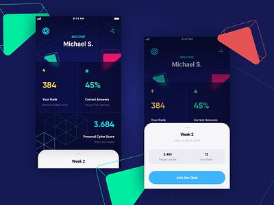 Trivia App - Home screen futuristic geometic stats colorful ios iphone app homescreen dashboard trivia quiz emirates ux ui design