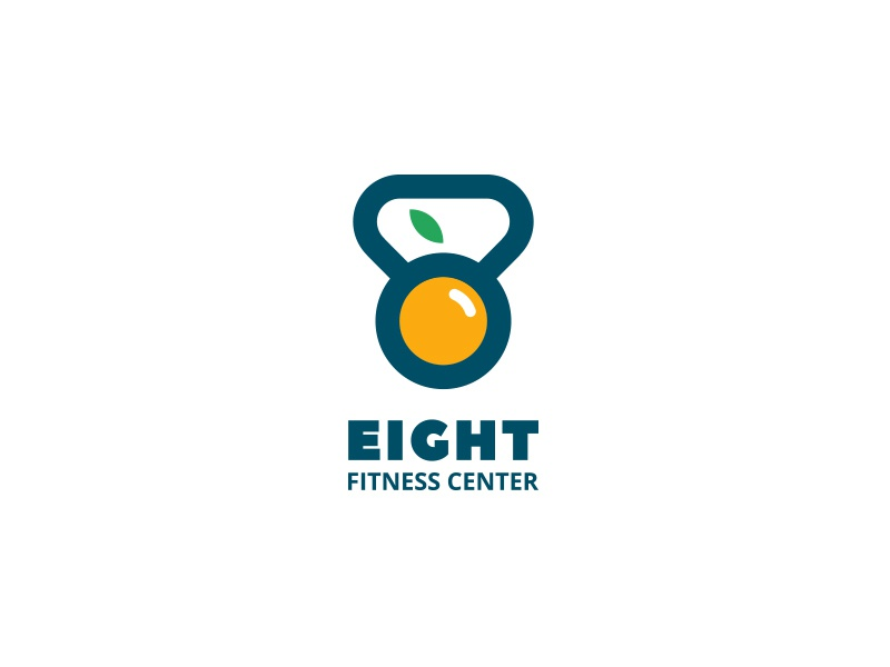 EIGHT fitness weight lifting healthy lifestyle gym logo icon vector design