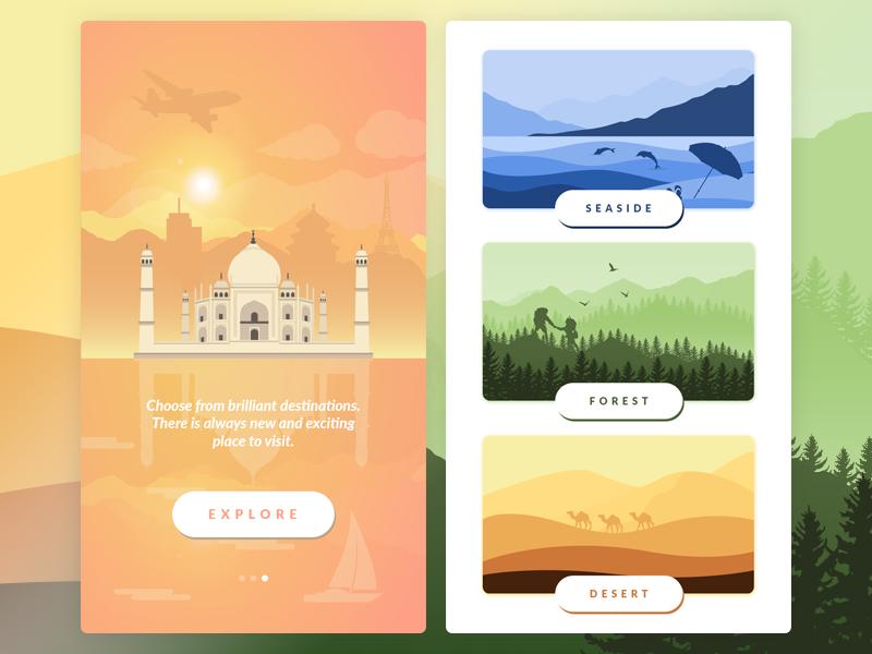 Travel App landscape nature forest seaside desert ux ui android ios mobile app travel