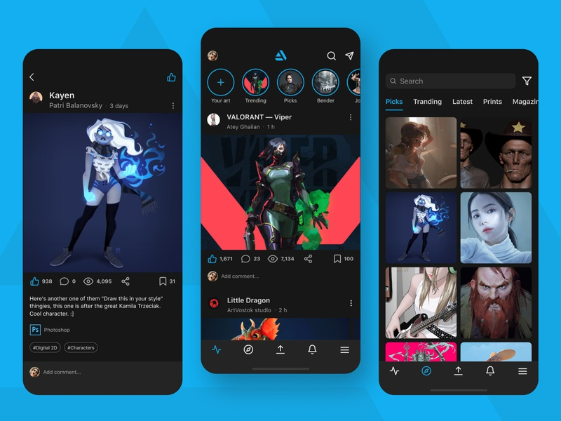 ArtStation app redesign concept art mobile app design mobile redesign concept artstation ux ui app ios app design interface app design