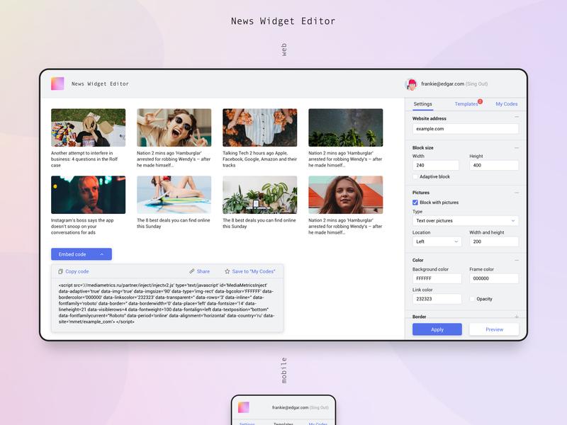 News Widget Editor by Mars Galeev on Dribbble