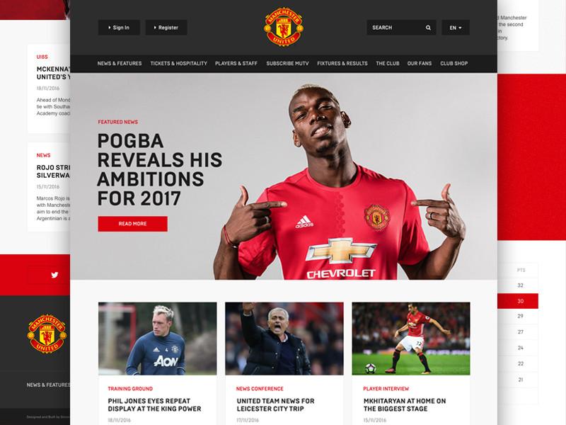 Man Utd Website Redesign Concept Design Live Responsive Soccer Website Manutd Football Ui Website Design Redesign