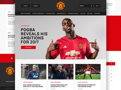 Man Utd Website Redesign Concept design live responsive soccer website manutd football ui website design redesign webflow