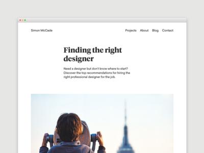 Blog - Finding the right designer