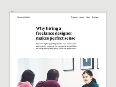 Blog - Why hiring a freelance designer makes perfect sense blog designer freelance design portfolio blogging website web creative internet ux user experience