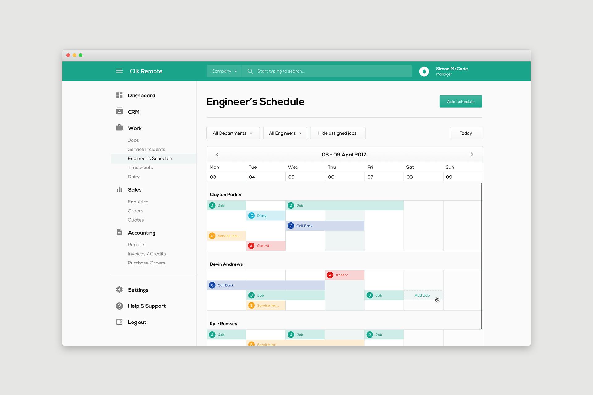 Clik remote   engineers schedule