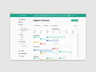 Clik Remote  - Engineers Schedule art direction user experience dashboard user interface ui design app design web app website application