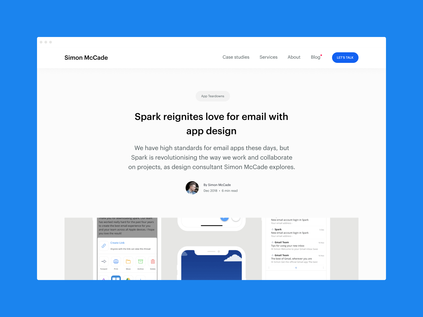 Dribbble post   spark email