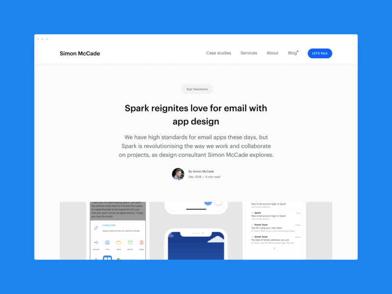 Blog - Spark reignites love for email with appdesign design ui design ui startups ux consultant blog post blog insights app designer app design app