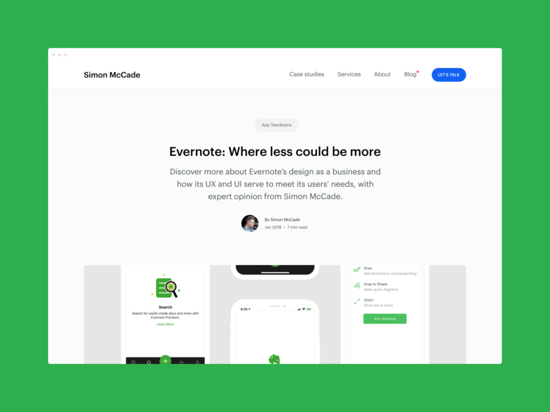 Blog - Evernote: Where less could be more white ui design simple mobile interface designer clean business flat typography app ui design