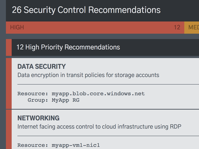 Security Control Recommendations list design security