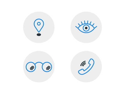 Eye Clinic Icons webdesign illustration mapmarker phone glasses eye outline blue icons optometrist ophthalmologist