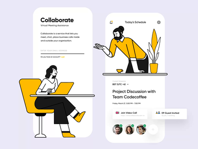 Daily Meeting App work collaboration app clean ui modern ui mobile design mobile app collaboration covid19 workfromhome schedule app meeting app task management