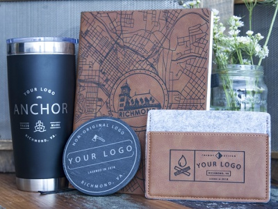 Sample Products corporate gifts corporate branding corporate custom custom products products product typography signmaking signage logo illustration designer richmond cut rva kugo engrave design laser