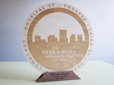 RVA Performance Awards product award wood signmaking signage logo illustration designer richmond cut kugo rva engrave laser design