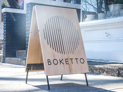 Boketto Wellness A-Frame typography acrylic wood signmaking signage logo illustration designer richmond cut kugo rva engrave laser design