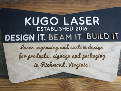 Kugo Lobby Sign wayfinding signs typography acrylic product wood signmaking signage logo designer richmond cut kugo rva engrave laser design