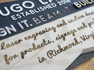 Kugo Lobby Sign wayfinding product wood signmaking signage logo designer richmond cut kugo rva engrave laser design