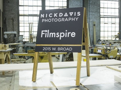 Nick Davis / Filmspire Sidewalk Sign wayfinding signs award typography acrylic product illustration wood signmaking signage logo designer richmond cut kugo rva engrave laser design