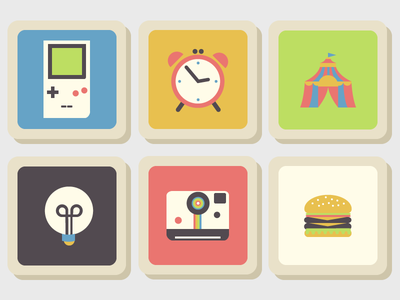Memory game flat tile tiles icon icons gameboy circus polaroid hamburger alarm clock light bulb memory game