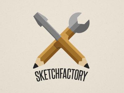 Sketchfactory sketchfactory logo illustration sketch factory pencil wrench screw driver school project