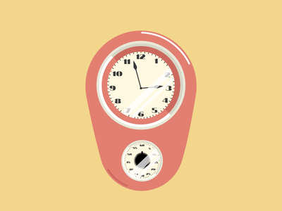 WIP - Vintage Wall Clock wip illustration icon 60s vintage timer retro hour wall clock living room