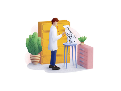 Veterinary Clinic healthcare dog puppy help character concept illustration clean colorful health people animals medical clinic