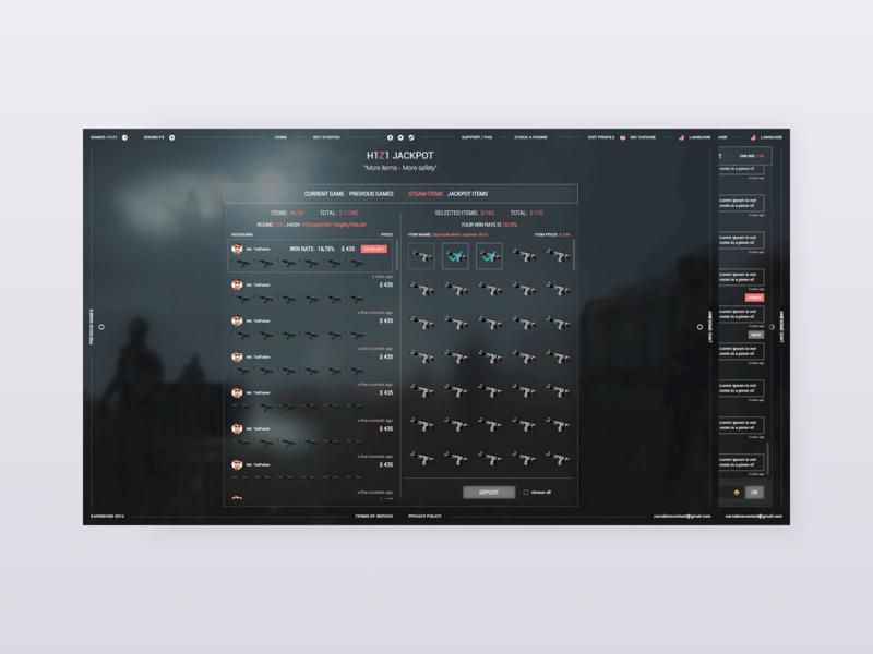 Inventory casino game h1z1 red 2d dark webapp web ui website ux design clean